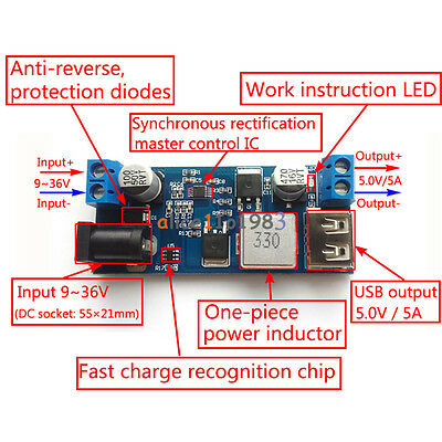 24V / 12V To 5V 5A Power Module DC-DC Step-Down Power Supply Converter