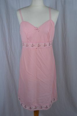 VINTAGE 1960s ST MICHAEL pink nylon slip style nightie 14 floral embroidered