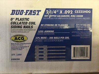 """DUO-FAST 2-1/4"""" x .092 Galvanized Ring Shank 0 degree Plastic Coil Siding Nails"""
