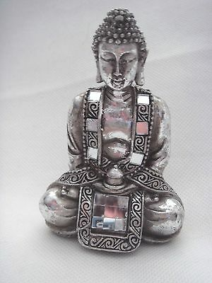 New Single Small Silver Resin Buddha Ornament Keepsake Present Gift Feng Shui