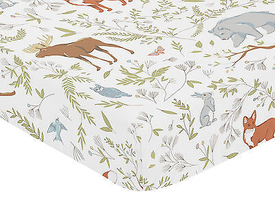 Sweet Jojo Fitted Crib Toddler Bed Sheet Woodland Toile Bedding - Animal Print