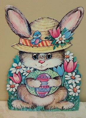 Vintage EASTER Die Cut Out Decoration Bunny with Hat &  Colored Egg Flowers