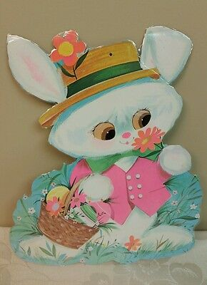 Vintage Eureka Easter Die Cut Out Decoration Easter Bunny with Colored Eggs USA