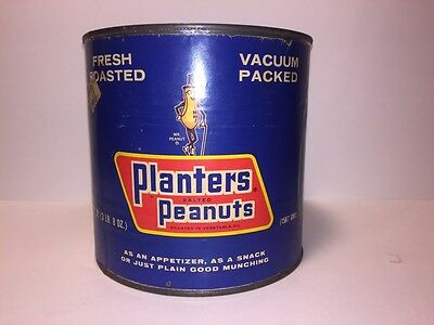 Vintage Peanut Can/ Planters Peanuts 8oz Advertising Can/ Rustic Advertising Can