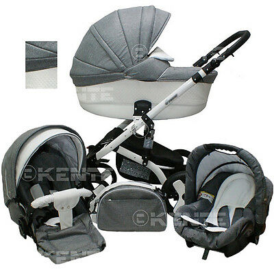 Stroller pram car seat buggy travel system 3 in1 swivel wheels kinderwagen