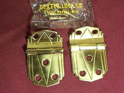 Pair of Vintage Brass Offset Cabinet Hinges Deco Modern Retro NOS 30's 40's 50's