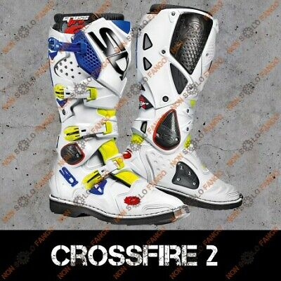 Stivali enduro Off-Road Sidi Crossfire 2 Giallo Fluo/Bianco/Blu