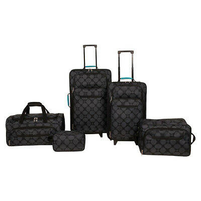 5pc Matched Luggage Wheeled Travel Set & Nested Carry On Bags Lightweight Black