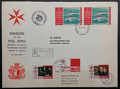 1975 Sovereign Military Order of Malta Stamps Registered First Day Cover FDC
