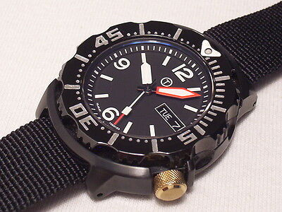 Seiko 200m Diver S Monster Black Ion Automatic Modded Sapphire Crystal
