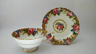 Paragon Tapestry Rose Teacup Cup & Saucer Set in Excellent Condition