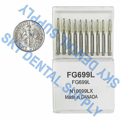Carbide Burs FG699L Friction Grip Midwest Type Made in Canada 100 Burs