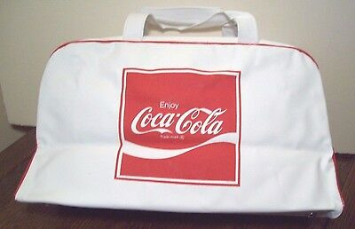 "Gorgeous, New, 1970's Era ""enjoy Coca Cola"" Double Sided Vinyl Zipper Gym Bag"