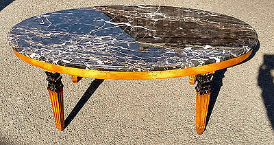 Vintage Italian Oval BIEDERMEIER Style Oval MARBLE TOP COFFEE TABLE
