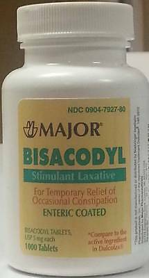 New Bisacodyl [Dulcolax] Tablets 5 Mg  1,000 Per Bottle Factory-Sealed