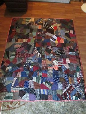 Antique CRAZY QUILT - Made with SILK - stitched by hand!