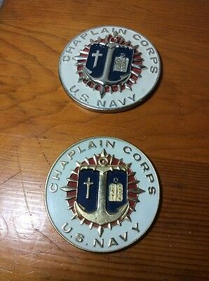 "2 Vintage US Army Chaplains Corps Large Round 3 1/2"" Metal, 3 1/4"" Plastic Plack"