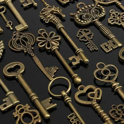 69 pcs Antique Vintage Old Look Bronze Skeleton Keys Fancy Pendant 69 Heart Set