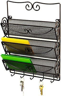 Stationary Station Black 3 Slot Mesh Sorter Organizer, Great for Mail, Bills &