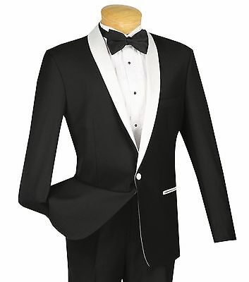 Men's Black 1 Button Slim Fit Tuxedo Suit w/ White Sateen Lapel & Trim NEW Prom