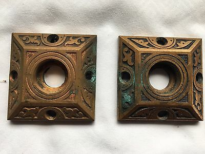 Pair Antique Brass Cabinet Door Knob  Back Plates  Decorative  Vtg Old 66-17J