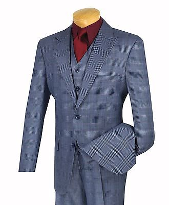 Men's Blue Glen Plaid 3 Piece Classic Fit Suit NEW w/ Matching Vest