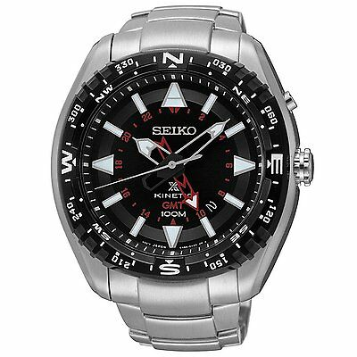 Seiko Prospex SUN049 Men's Kinetic Stainless Steel Black Dial GMT Analog Watch