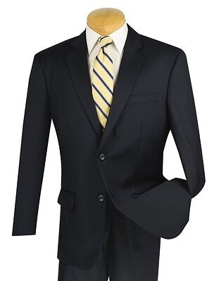 Men's Navy Blue 100% Wool 2 Button Classic Fit Suit NEW