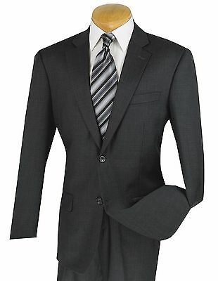 Men's Charcoal Gray 100% Wool 2 Button Classic Fit Suit NEW