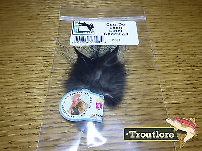 Hareline Coq De Leon Light Speckled Pardo Dry Fly Tail Feathers - New Fly Tying