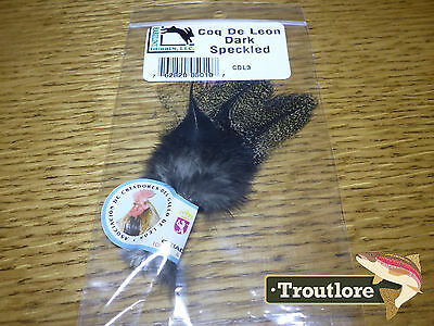 Hareline Coq De Leon Dark Speckled Pardo Dry Fly Tail Feathers - New Fly Tying