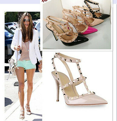 Lady High Heel Pointed Toe Studded Ankle Strap Pump Stiletto Rivet Shoes Sandal