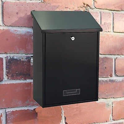 Large Black Lockable Outdoor Mailbox/postbox Letter/mail/post Box House Wall New