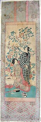 Couple Domestic Scene Cat Japanese Woodblock Full Colour Panel Print Antique