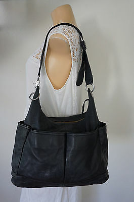 PICCINO BAMBINO Soft Black Leather Baby Nappy Shoulder Bag