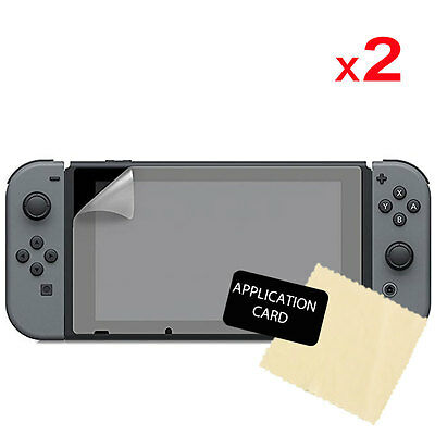 2x Clear LCD Screen Protector Guard Covers + Cloth for Nintendo Switch Console