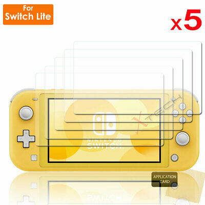 5x Clear LCD Screen Protector Guard Covers + Cloth for Nintendo Switch Console