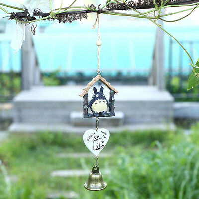 Japanese Totoro Wooden House Garden Outdoor Home Decor Wind Chime Bells