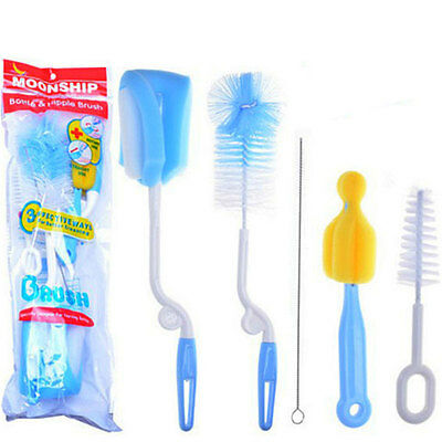 5pcs Baby Milk Bottle Nipple Teat Nozzle Spout Tube Cleaning Brush Cleaner Set