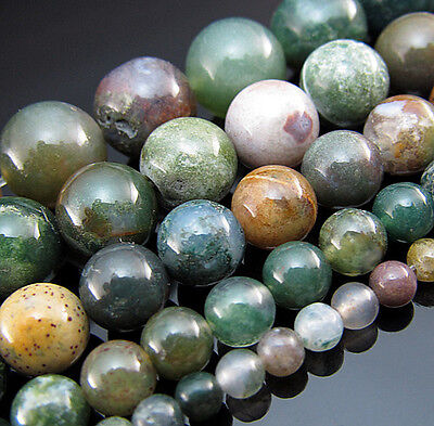"Natural 15"" Top Indian Agate Gemstone Round spacer Beads 4mm 6mm 8mm 10mm 12mm"