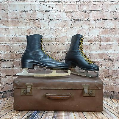 Mens Black Fagan Ice Skates With Guard Lace Up Leather Made In England UK 11 .5