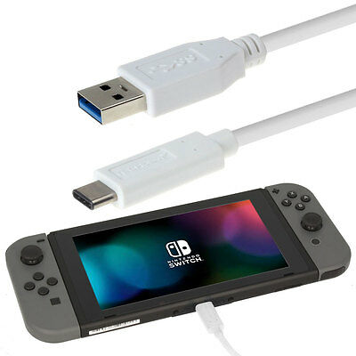 USB Type C USB Charger Power Cable Lead for Nintendo Switch - 1M / White