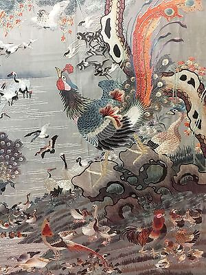 Very Fine Antique Chinese Silk 100 Birds Tapestry Embroidery Panel Qing Textile