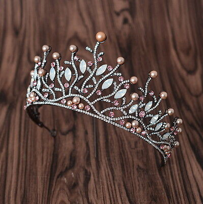 Antique Copper Gold Pearl Crystal Wedding Bridal Party Pageant Prom Crown Tiara