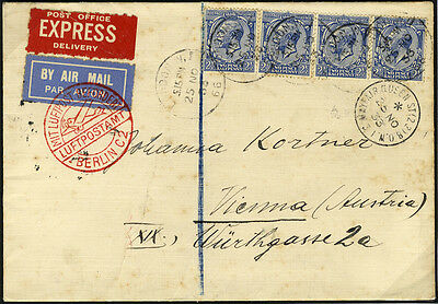 1933 Airmail Express cover from The Mayfair Hotel to Vienna, 2½d x4 . . .