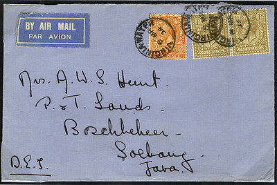 1934 Airmail cover from Virginia Water to Java with 2/3d postage . . .