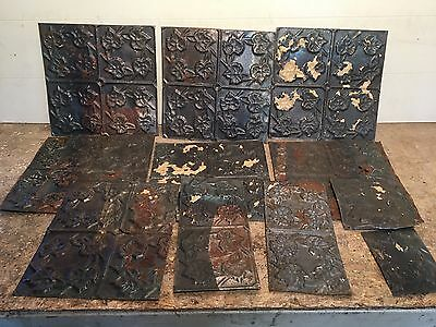 "Lot of 11 pc 12"" x var"" Antique Ceiling Tin Tile Vintage Reclaimed Salvage Art"