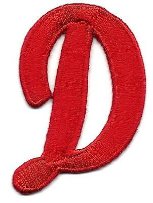 "LETTERS  - Red Script  2"" Letter ""D"" - Iron On Embroidered Applique"