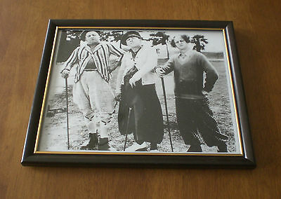 THREE STOOGES GOLFING FRAMED B&W 8x10