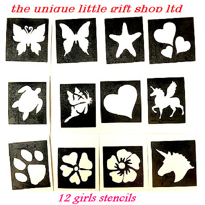 12 x GIRLS BUTTERFLY PAW stencils  top up ur glitter tattoo kit face painting